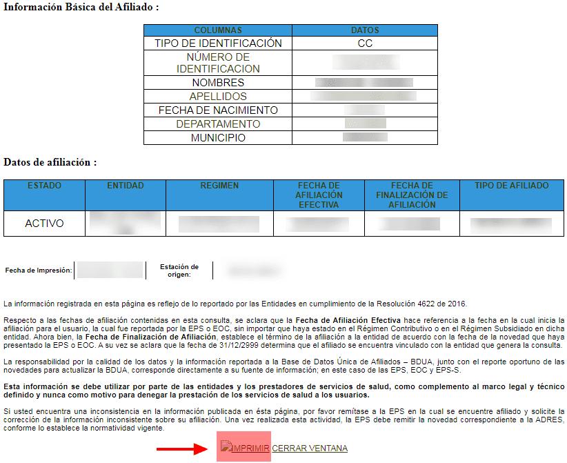 Imprimir Certificado Fosyga Adres